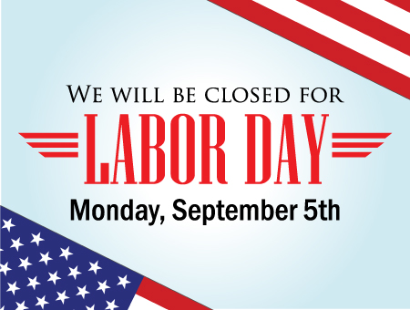 Branches Closed on Monday, September 5th, 2016 for Labor Day!